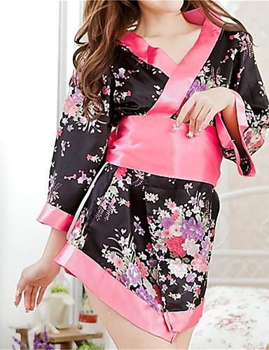 Vrouw Ochtendjas Ultrasexy Uniform/chinese jurk Kostuum Nachtkleding Bloemen  Polyester Zwart