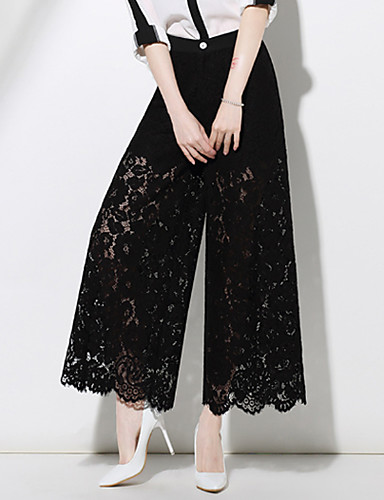 Women's Mid Rise Micro-elastic Chinos Pants,Simple Street chic Chinoiserie Wide Leg Lace Solid