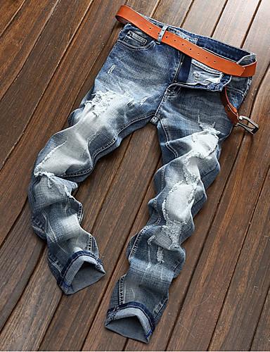 Herre Bomull Rett / Jeans Bukser Ensfarget