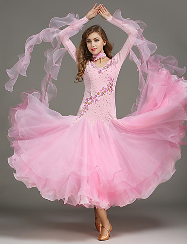 df1a36ffde46 Ballroom Dance Dresses / Tops Women's Training Spandex / Tulle / Sequined  Sequin / Crystals / Rhinestones Sleeveless Natural / Modern Dance
