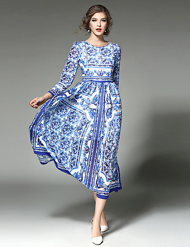 Women's Vintage / Street chic / Sophisticated Swing Dress - Patchwork