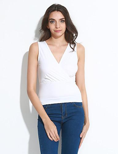 Mulheres Blusa - Para Noite Franzido, Sólido Decote V