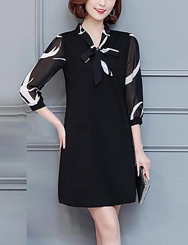 أسود فوق الركبة حامل بقع - فستان فضفاض قياس كبير عطلة للمرأة