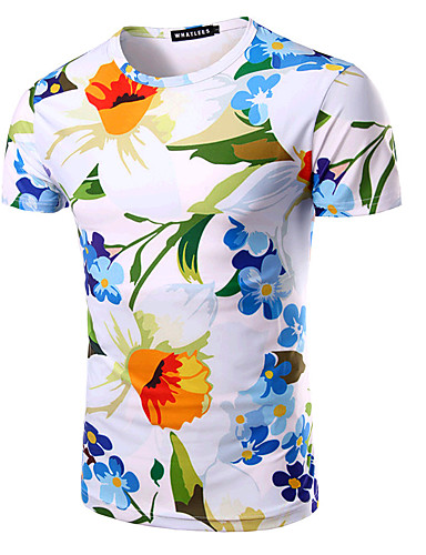 Bomull Rund hals T-skjorte Herre - Blomstret, Trykt mønster Aktiv Sport