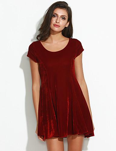 Damen A-Linie Kleid-Ausgehen Freizeit Solide Rundhalsausschnitt Übers Knie Kurzarm Andere Sommer Mittlere Hüfthöhe Mikro-elastisch