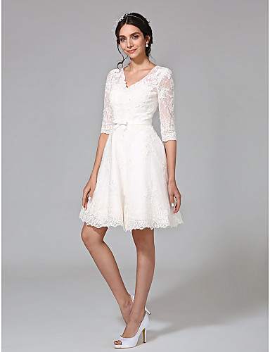 d37a1cb82867 Χαμηλού Κόστους Νυφικά-Γραμμή Α Λαιμόκοψη V Μέχρι το γόνατο Όλο δαντέλα  Φορέματα γάμου φτιαγμένα