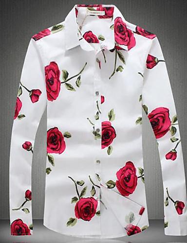 Homens Camisa Social Floral Algodão Colarinho Clássico Delgado / Manga Longa