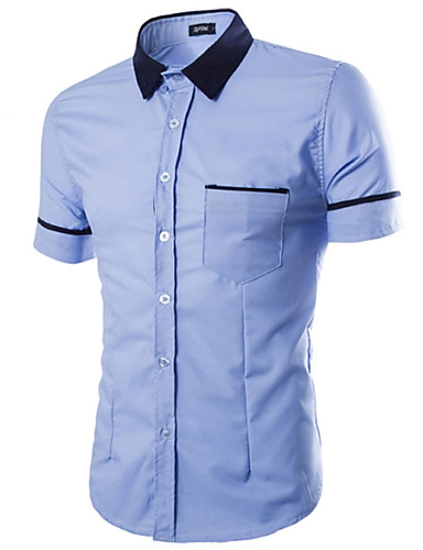 Bomull Klassisk krage Skjorte Herre - Ensfarget