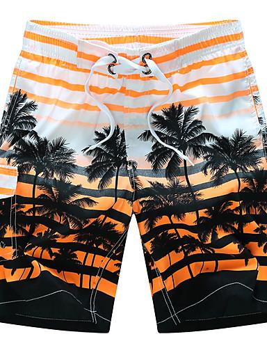 Homens Activo / Boho Tamanhos Grandes Algodão / Raiom Solto / Shorts Calças - Listrado / Praia