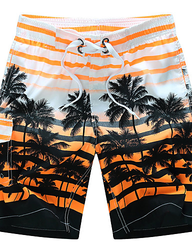 abordables Pantalones de Hombres-Hombre Activo / Boho Tallas Grandes Algodón Corte Ancho / Shorts Pantalones - A Rayas Naranja / Verano / Playa