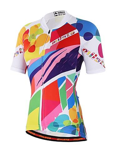 cheap Cycling Clothing-Unisex Short Sleeve Cycling Jersey Rainbow Bike Jersey Top Sweat-wicking Sports Coolmax® Mountain Bike MTB Road Bike Cycling Clothing Apparel / Stretchy