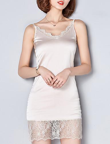 Mulheres Moda de Rua Tubinho Vestido - Renda, Sólido Decote V Acima do Joelho / Primavera / Verão