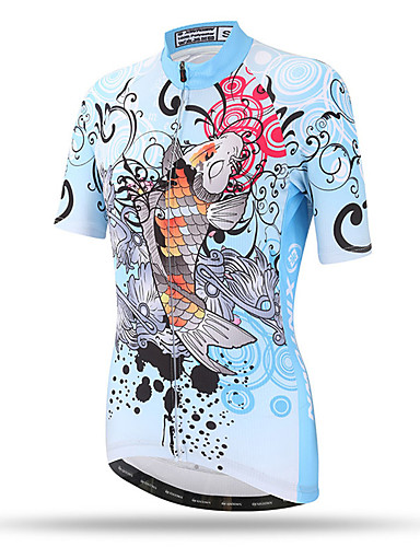 cheap Cycling Clothing-XINTOWN Women's Short Sleeve Cycling Jersey LightBlue Plus Size Bike Top Breathable Quick Dry Back Pocket Sports Terylene Mountain Bike MTB Road Bike Cycling Clothing Apparel / Stretchy