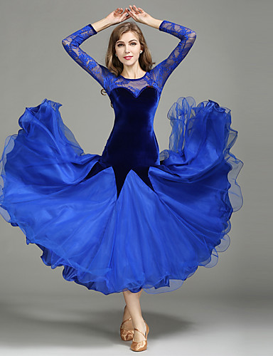 c16052f67 Ballroom Dance Dresses Women's Performance Lace / Tulle / Velvet Lace /  Splicing Long Sleeve Natural 1 x User's Manual / Dress