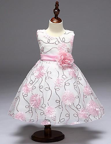 Plesové šaty Krátký / Mini Šaty pro květinovou družičku - Organza Bez rukávů Klenot s Flitry / Aplikace / Květiny podle / Elegantní