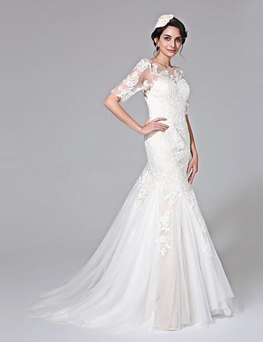 בתולת ים \ חצוצרה אשליה שובל קורט תחרה טול שמלת חתונה עם אפליקציות כפתור על ידי LAN TING BRIDE®