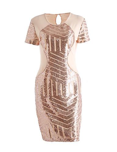 voordelige Sexy jurken-Dames Club Street chic Bodycon Jurk - Patchwork, Pailletten Boven de knie