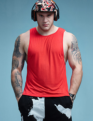 abordables Camisetas y Tops de Hombre-Hombre Activo Deportes Tank Tops, Escote Redondo Un Color Amarillo L / Sin Mangas / Primavera / Verano