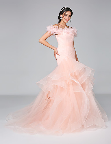 Mermaid / Trumpet Off Shoulder Court Train Tulle Made-To-Measure Wedding Dresses with Ruched / Flower / Ruffle by LAN TING BRIDE® / Wedding Dress in Color / Open Back