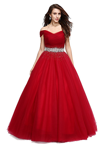 c2f4ae6c4753 Ball Gown Off Shoulder / V Wire Floor Length Tulle Formal Evening Dress  with Beading / Sequin by TS Couture®