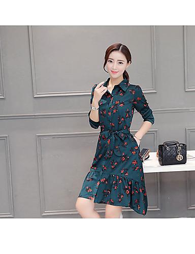 3e9520fb9ef7 2016 pluss fløyel lange delen floral kjole koreanske versjonen av løse  store verft var tynne lange ermer chiffon skjorte kjole kvinner 5631254  2019 –  16.99