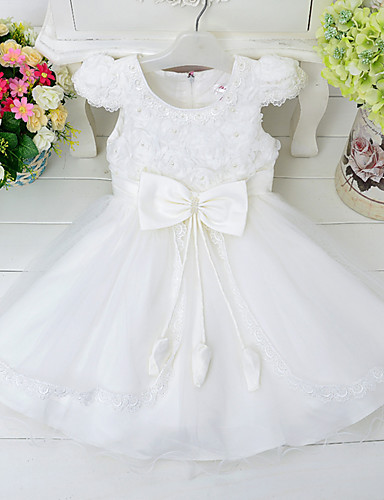 Princess Knee Length Flower Girl Dress - Lace Polyster Sleeveless Jewel Neck with Imitation Pearl Appliques Satin Bow Cascading Ruffles by