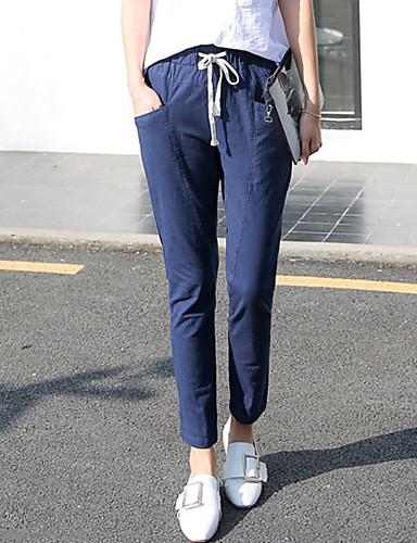 Žene Jednostavan Veći konfekcijski brojevi Pamuk Harem hlače / Širok kroj / Traperice Hlače Jednobojni