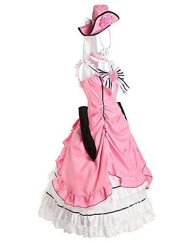 billige Anime Kostumer-Inspireret af Sort Butler Ciel Phantomhive Anime Cosplay Kostumer Cosplay Kostumer / Kjoler Patchwork Uden ærmer Kjole / Handsker / Sløjfe Til Herre / Dame / Victoriansk