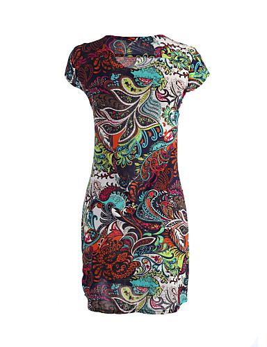 Luźna Pochwa Spódnica Sukienka Damskie Wyjściowe Rozmiar plus Vintage Urocza Kwiaty Geometryczny Nadruk Wzór zwierzęcy Patchwork,Okrągły