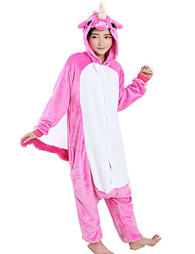 061dbb3c4 Adults' Cosplay Costume Kigurumi Pajamas Unicorn Flying Horse Pony Onesie  Pajamas Flannel Toison Fuschia Cosplay For Men and Women Animal Sleepwear  Cartoon ...