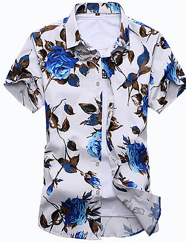 voordelige Herenoverhemden-Heren Boho Print Overhemd Strand Bloemen Klassieke boord Slank Wit / Korte mouw / Zomer