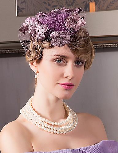 billige Hatte & Imponeringer-Linfrø / Nett / Fløyel Kentucky Derby Hat / fascinators / Hatter med 1 Bryllup / Spesiell Leilighet / Avslappet Hodeplagg