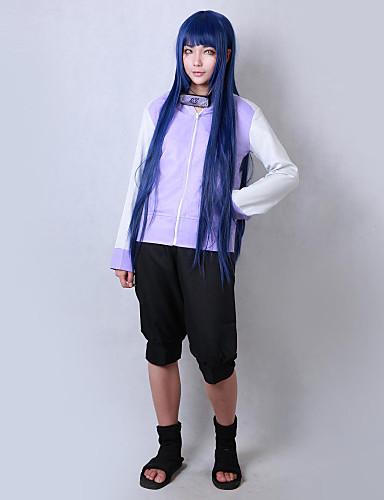 halpa Cosplay ja rooliasut-Innoittamana Naruto Hinata Hyuga Anime Cosplay-asut Japani Cosplay Puvut Yhtenäinen Pitkähihainen Takki / Shortsit Käyttötarkoitus Miesten / Naisten