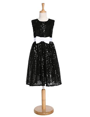 Kjole kjole knælængde blomst pige kjole - sequined ermeløs juvel hals med sequin