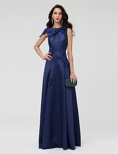 גזרת A כתפיה אחת עד הריצפה סאטן מסיבת קוקטייל / ערב רישמי שמלה עם חרוזים / פרח / קפלים על ידי TS Couture®