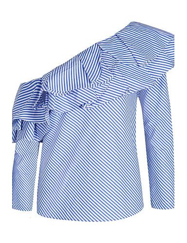 Mulheres Camisa Social - Para Noite Moda de Rua Luva Lantern Frufru, Listrado Algodão Ombro a Ombro / Primavera / Verão