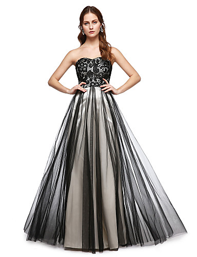 A-Şekilli Kalp Yaka Yere Kadar Dantelalar Tül Dantel Pileler ile Resmi Akşam Elbise tarafından TS Couture®