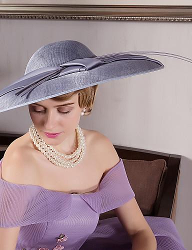 billige Hatte & Imponeringer-Linfrø / Fjær / Fløyel Kentucky Derby Hat / fascinators / Hatter med 1 Bryllup / Spesiell Leilighet / utendørs Hodeplagg