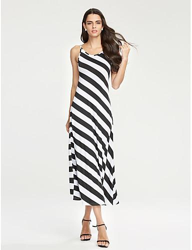 여성의 섹시 / 보호 바디콘 드레스 줄무늬 맥시 스트랩 폴리에스테르
