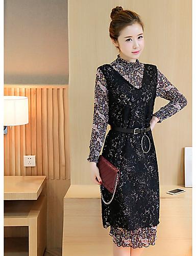4472e3edbe5 podepsat jarní korejština módní krajka vesta dvoudílný květinový Relační šifon  šaty ženského podporu