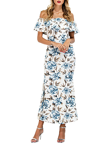 Women's Going out Simple Sheath Dress - Solid Colored / Print Maxi Off Shoulder