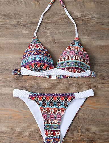 abordables Hauts pour Femmes-Femme Bohème Uni Licou Arc-en-ciel Bikinis Maillots de Bain Imprimé S M L Arc-en-ciel