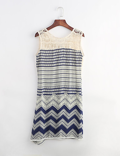 Women's Going out Beach Holiday Sexy Boho Loose Sheath Dress,Striped Round Neck Mini Sleeveless Polyester Summer High Rise Micro-elastic