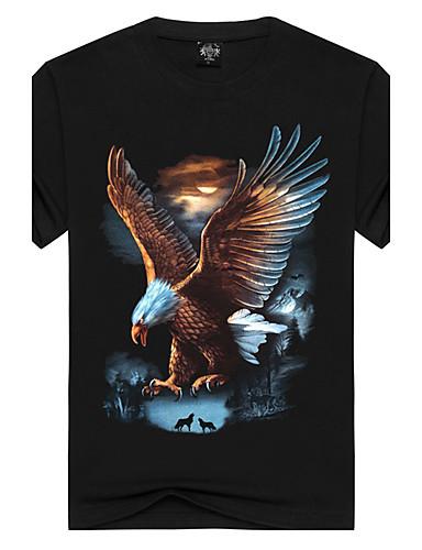 billige T-shirts og undertrøjer til herrer-Rund hals Herre - Dyr Bomuld, Trykt mønster Aktiv Sport / Strand T-shirt Sort XL / Kortærmet / Sommer