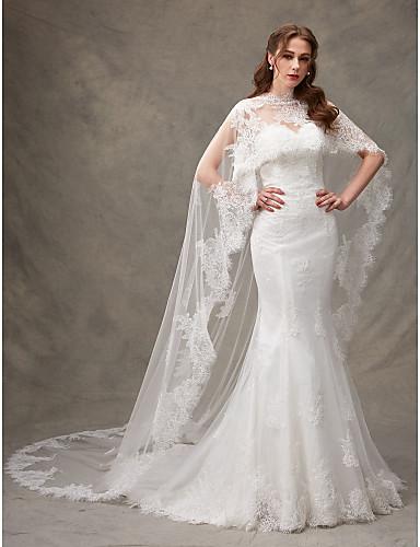Sereia Decote Princesa Cauda Escova Renda Vestidos de noiva personalizados com Pregueado Renda de LAN TING BRIDE®