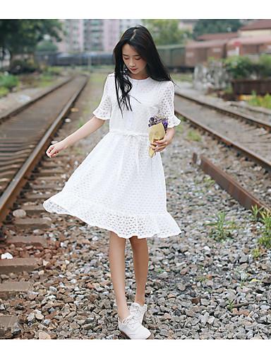 270a606f0e69 korea blonde kjole sommer frisk ensfarvet løs krog blomst hule temperament  var tynd mode små duftende