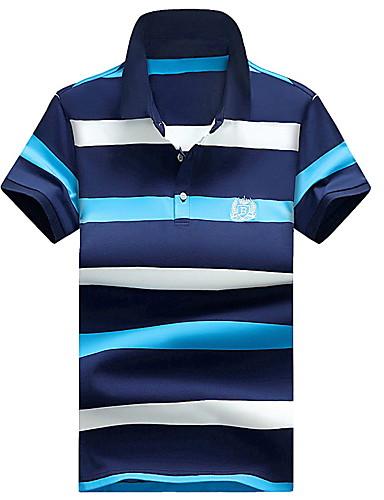 رجالي قطن بولو ستايل قياس كبير قبعة القميص - رياضي Active / أناقة الشارع لون سادة / مخطط / كم قصير / شاطئ