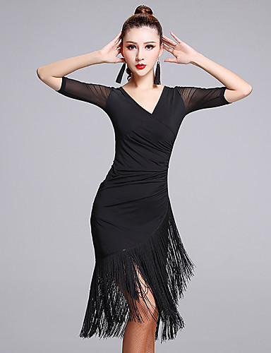 8cf12a2d5 Latin Dance Dresses Women's Performance Milk Fiber Tassel Half Sleeve  Natural Dress