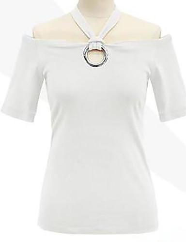 billige Topper til damer-Bomull Båthals Store størrelser T-skjorte Dame - Ensfarget Svart / Sommer