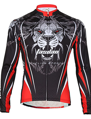cheap Cycling Clothing-TASDAN Men's Cycling Jersey Bike Jersey Breathable Quick Dry Back Pocket Sports Lion Winter Mountain Bike MTB Road Bike Cycling Clothing Apparel Relaxed Fit Bike Wear / Stretchy